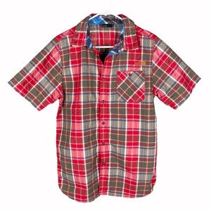 The north face men's check red button down shirt